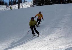 Sarah Hofmann mit Theresa Schweiger als Guide im Slalom der bayerischen Meisterschaften